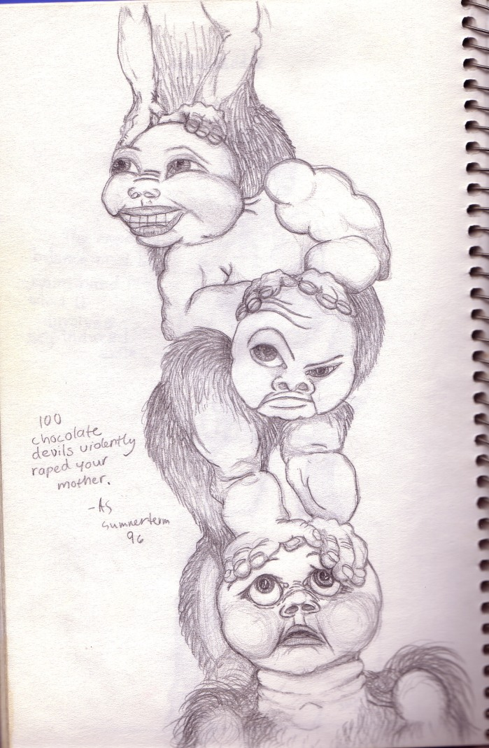 100 Chocolate Devils, pencil on sketchpad, circa 1996