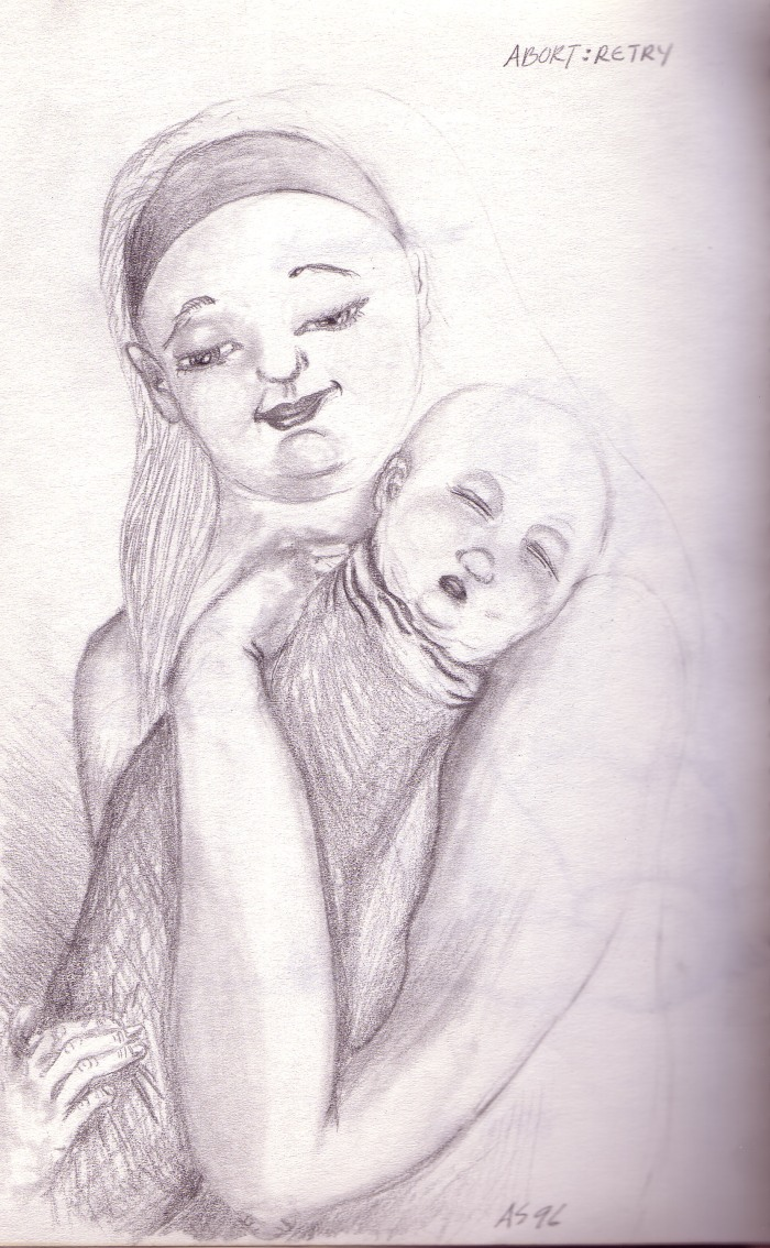 abort:retry, pencil on sketchpad, circa 1996