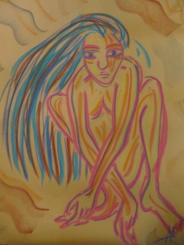 2 minute doodle, pastel on newsprint, circa 1997