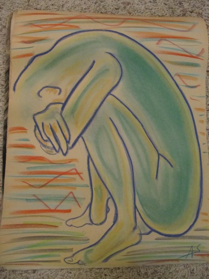 2 minute doodle, pastels on newsprint, circa 1997