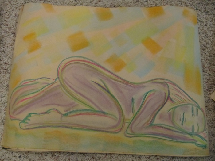 2 minute doodle, pastels on newsprint, circa 1997